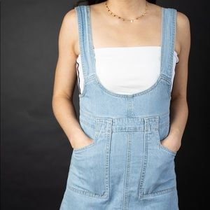 Denim overalls with white bandeau